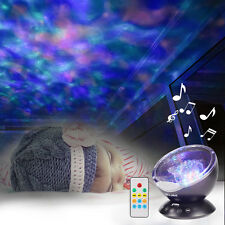 Ocean Wave Music Relaxing Projector LED Night Light Remote Lamp Xmas Kids Gift