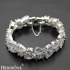 Genuine White Topaz Hermosa 925 Sterling Silver Luxury Xmas Gifts Bracelet 7""