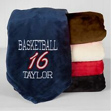 Personalized Monogrammed Throw Blanket w/ Embroidery Basketball Blanket