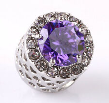 Fashion 925 Silver Exquisite purple CZ Charm Beads Fit sterling Bracelet A195