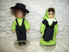 AMISH DOLL SET BOY & GIRL DRESSED IN GREEN & BLACK W/ DISPLAY STAND USA