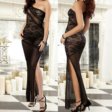 Fashion Sexy Lingerie Black Lace Long Dress Women's Underwear Nightgown+G-string