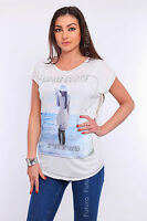 Women's Top LADY IN HAT Print Boat Neck Short Sleeve T-Shirt Sizes 8-12 FHB13