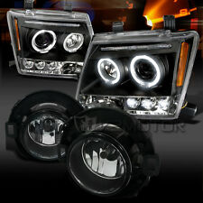 05-12 For Nissan Xterra Black Halo LED Projector Headlights+Clear Fog Lights