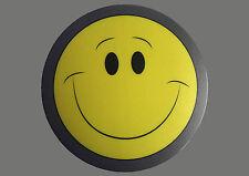 Mauspad,Mousepad gelber Smiley Smilies lachend Rund 20 cm mit grauem Rand