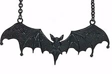 "5"" Black Gothic Vampire Bat Necklace Dracula Punk Grunge Jewelry Pendant"