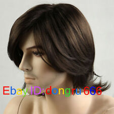 Fashion sexy Men's man Medium long Dark Brown Cosplay Natural Hair Wigs+wig cap