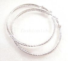 New Women 2 in1 No Stone White Gold Plated Big Girl 5cm Modern Hoops Earrings