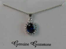 Sterling Silver Plated Lab Created Blue Sapphire And Cubic Zirconia Boxed Pendan