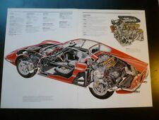1971 FERRARI Dino GT Car Cut Away Drawing Poster, hi detail, printed 1988 italy