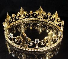 MEN'S KING METAL CROWN AUSTRIAN RHINESTONE CRYSTAL THEATER PROM PARTY C806G GOLD