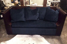 Vintage solid walnut sofa, Indigo Mohair, New upholstery, down filled