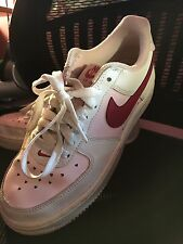 Nike Air Force 1 Pink White Sneakers Rose Youth 4Y 4 Juniors Low Basketball