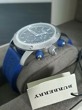 Burberry Sport Chronograph Wrist Watch Men's - Blue Rubber 44mm - Swiss Made