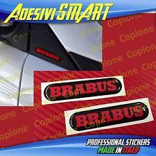 2 Adesivi Resinato Sticker 3D BRABUS Smart Nero e Rosso Sportello Spechietto