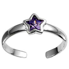Silver Tiny Star Toe Ring Sterling Silver 925 Best Deal Jewelry Gift Amethyst CZ