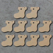 Christmas Stockings Gift Tags x10 - Wooden Laser Cut mdf Craft Blanks / Shapes