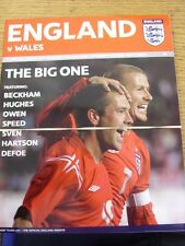 09/10/2004 England v Wales [At Manchester United] . Good condition unless previo