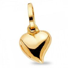 Solid 14k Heart Puffed Pendant Yellow Gold Small Love Charm Polished Genuine