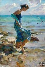 "Q2 Handcraft Portrait oil painting on canvas,Girl in the Water  24""x36""  #8"