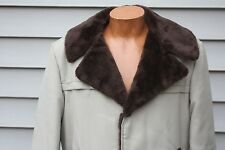 VTG SHIPTON SPORTSWEAR Men's Beige Faux Fur Lined Car Coat Size 40 USA