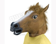 Latex Rubber Horse Head Mask Creepy Halloween Costume Gangnam Style Dance Prop