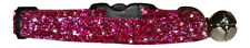 "fabric cerise  pink  sparkle kitten cat  safety  collar   and bell 7""-10"""