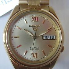 SEIKO 5 ORIGINAL JAPAN MEN'S WATCH AUTOMATIC ALL STAINLESS S GOLD SNKA54K1 NEW