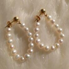 """Vintage 14K Gold Pearl 4mm Loop Earrings - 1 3/8"""" Drop Dangle Butterfly Pierced"""