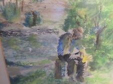 Watercolor Original Painting Art Quick sketch NICELY FRAMED UNSIGNED MAN WOODS