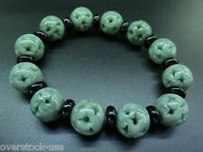 Natural A Grade Jade (jadeite) Hollow Round Green Bead Bracelet
