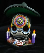 Skull in Sombrero for Dias de los Muertos Altar Day of the Dead Mexican Folk Art