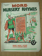 VINTAGE SHEET MUSIC - MORE NURSERY RHYMES - GEM SERIES 4 - OLD FASHIONED TUNES