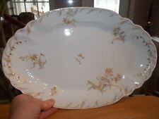 Antique CH Field Haviland Limoges Floral Decorated Serving Plate - Gold Flowers