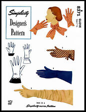 8371 SIMPLICITY 40s 5 Sty SEXY GLOVES Designer Style Fabric Sewing Pattern 7 1/2