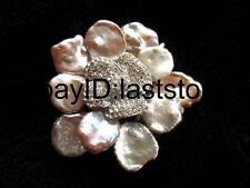 freshwater pearl reborn keshi purple  flower brooch nature 50mm wholesale