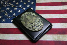 Los Angeles Police SWAT Metal Badge Driver's License PU Wallet Holder & Chain