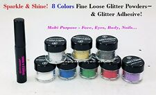 8 Colors Multi-Purpose Loose Glitter & Adhesive for Eyes, Face, Nail & Body
