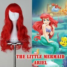 THE LITTLE MERMAID ARIEL Wig Long Wavy RED Cosplay Costume wig Hair