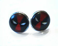 Marvel Deadpool black and red stud earrings silver coloured pair 15mm