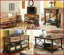 Rustic Living Room SET Coffee Table TV Stand Nightstand Wood Country Furniture