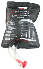 20 Litre Solar Shower 41 x 58cm Black With Shower Head & Hanging Cord -