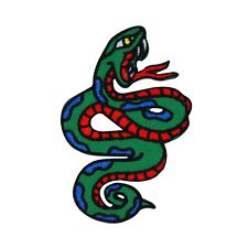 Angry Snake Patch Red & Green Hissing Serpent Reptile Craft Iron-On Applique