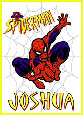 BOYS SPIDERMAN PERSONALISED IRON ON TRANSFER CREATE A T SHIRT  STOCKING FILLER
