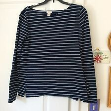 J Crew women's blue striped 100% cotton long sleeve crew neck top size small