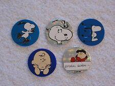 5 Peanuts Charlie Brown Snoopy Lucy Foil Milkcaps Pogs Bottle Caps Slammers
