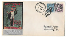 US 1932 Olympics Summer Opening Day Cover Olympic Village Silver Cachet 718 719