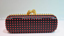 ALEXANDER MCQUEEN BICOLOR BLACK RED TWIN SKULL STUDDED NAPPA LEATHER CLUTCH NEW