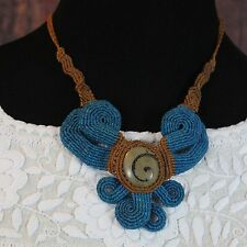 Mayan inspired with Fossil, hand Woven adjustable Necklace Mexican Folk Art Boho