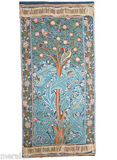 """'WOODPECKER WITH VERSE' French Woven Tapestry Wall Hanging William Morris 40x19"""""""